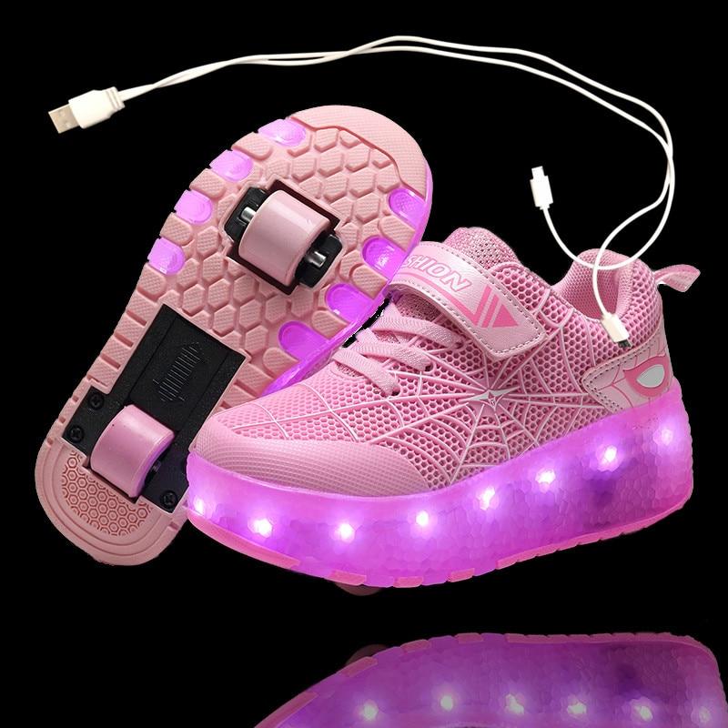 2021 New Girls Boys LED Shoes USB Charging Children Sneakers With 2 Wheels  Kids Sneakers With Wheels Roller Skate Shoes