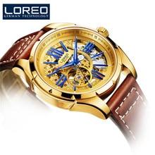 2020 LOREO Original Automatic Mechanical Watch Men Leather Watches Fashion Skeleton Waterproof Male Clock Wrist erkek kol saati цена 2017