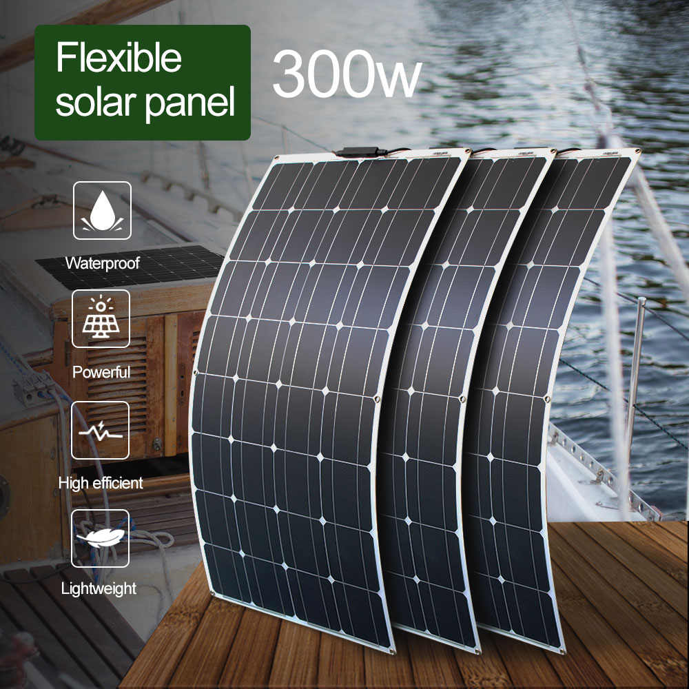 300 watt flexible solar panel 12v panel solar portatil waterproof lightweight solar panels for home roof image