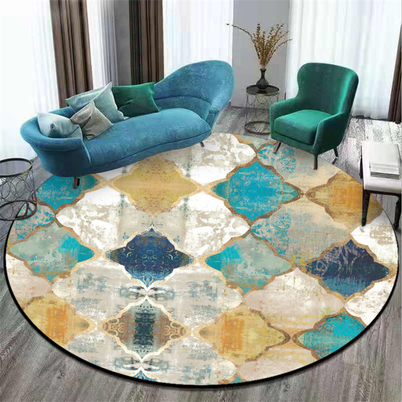 Area Rug For Living Room Vintage European Moroccan Style Round Carpet Carpet Kids Room Bedroom Rug Christmas Rug 100% Polyester