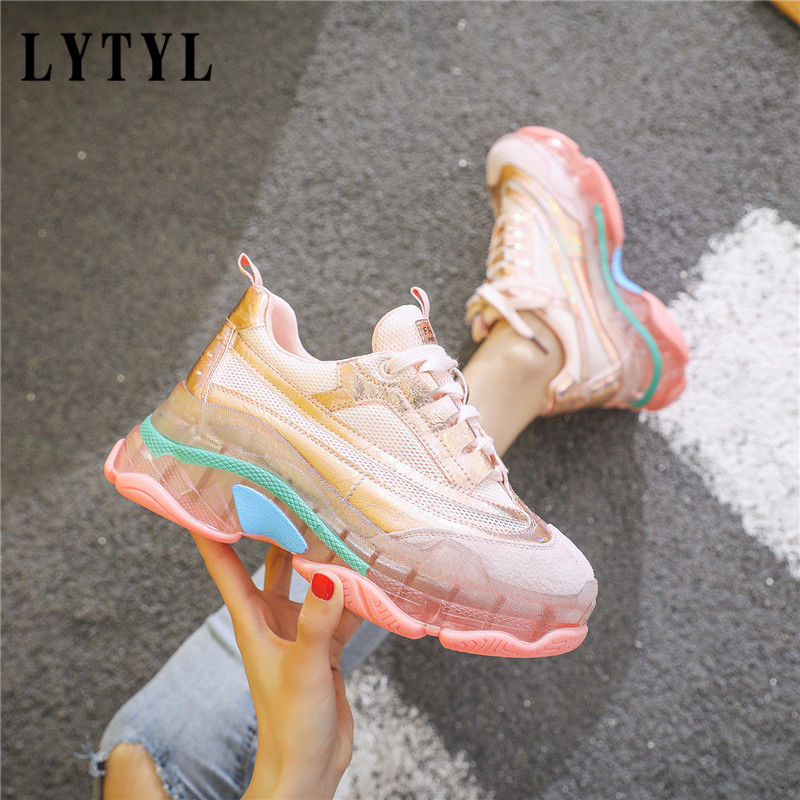Transparent Sneakers Women Harajuku Ladies Platform Jelly Shoes Laser Casual Shoes Woman Shining Running Footwear E0-84(China)