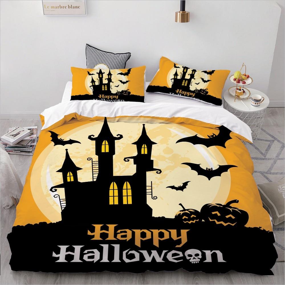 3D Cartoon Bedding Set For Kids/baby/children/boys,Duvet Cover Set Queen/King,Quilt/Blanket Cover Set Happy Halloween Yello