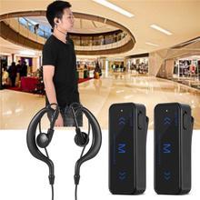 2PCS Mini Walkie Talkie 3W 400-470MHz 2-Way Radio Transceiver Earpiece Headset Earmuff USB Powered 1.86-0.62 Mile Distance ABS