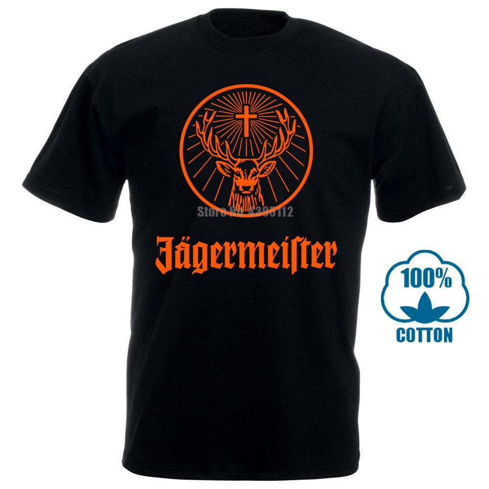 Jagermeister German Logo Men'S Black T Shirt 100% Cotton New Fashion From Us