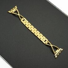 цена на Women Diamond Watch Band For Apple Watch 38mm 42mm 40mm 44mm Stainless Steel Strap Iwatch Series 5 4 3 2 1 Wrist Band Bracelet