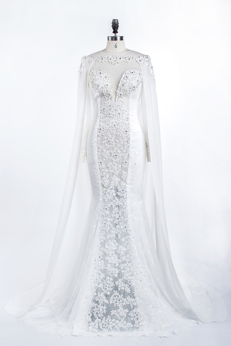 Berta Lace Lace With Cloak Luxury Pearls See Through Bridal Gown Hollow Long Vestido De Noiva Sereia Mother Of The Bride Dresses