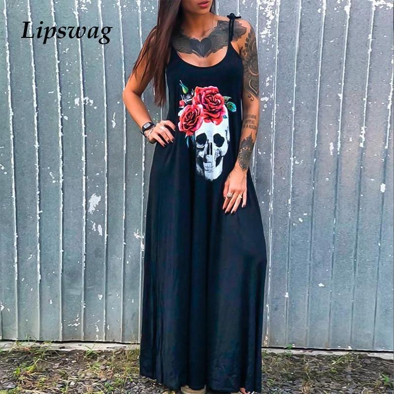 2020 Punk Style Loose Summer Dress Women Skull Flower Print Sleeveless Long Dress Female Sexy High Slit Maxi Dress Vestidos 3XL