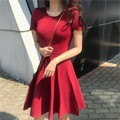 Винтажный стиль 2020 новое летнее модное корейское однотонное тонкое платье с короткими рукавами женское темпераментное тонкое платье трапе...