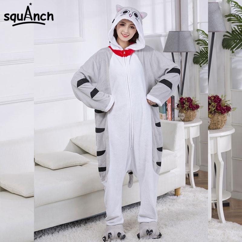 Zipper Chi Cat Kigurumi Women Girl Kawaii Sleepwear Anime Cartoon Onesie Funny Festival Suit Winter Warm Adult Jumpsuit Outfit