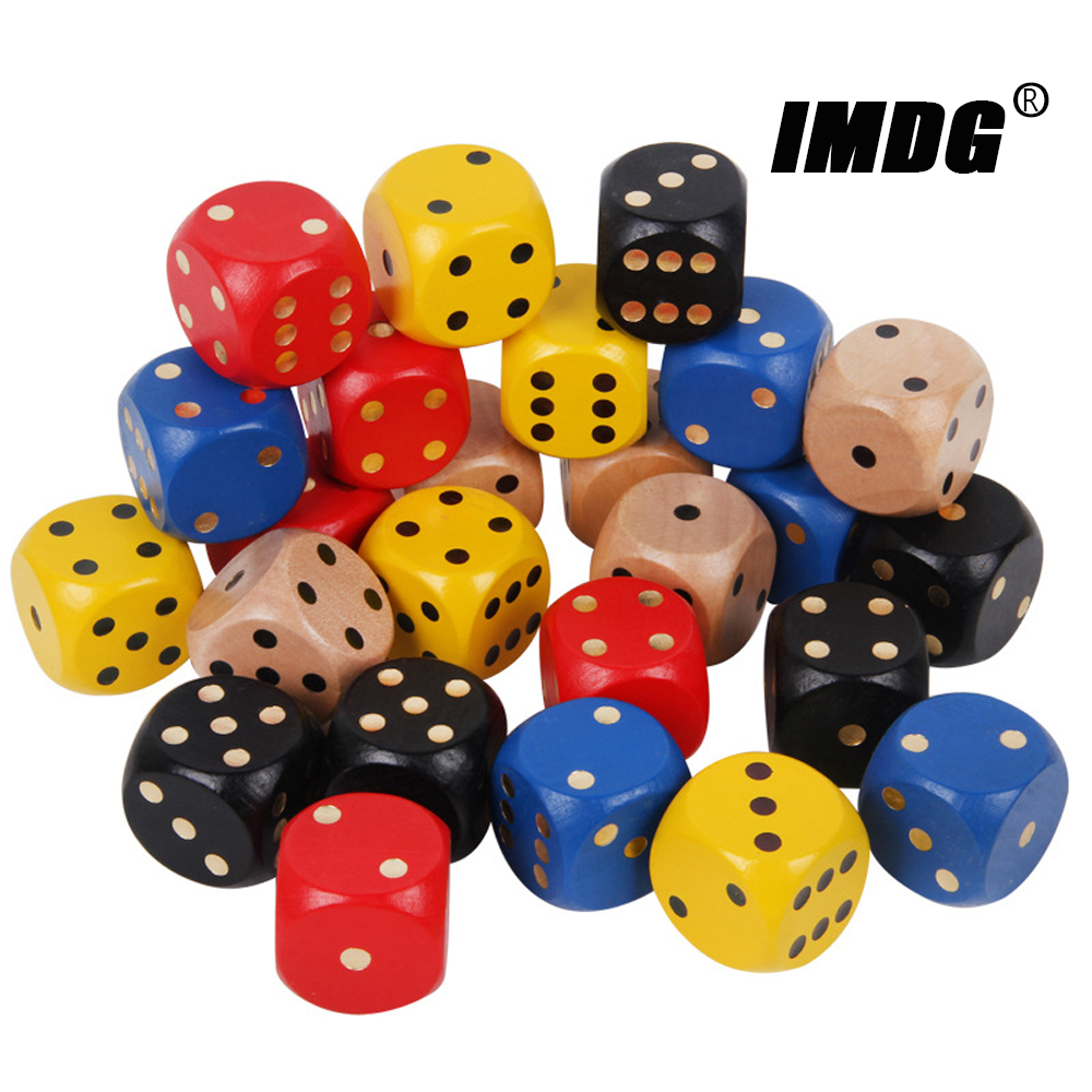 1PCS Wood Dice 35mm Big Colorful Solid Wooden Black Dot Game Rounded Dice Drinking Dice