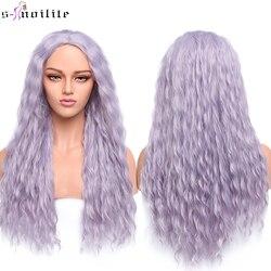 Perruque de Cosplay synthétique longue ondulée violette-s-noilite | Perruque grise foncée pour femmes, perruque naturelle Middle Part résistante à la chaleur
