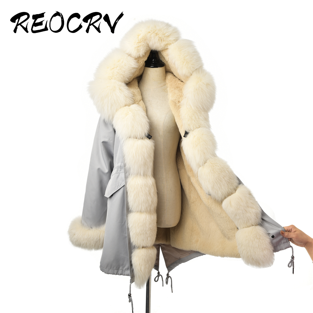 Reocrv 2019 cinza claro parka com capuz pele real parka feminino natural pele de raposa parka casaco de inverno das mulheres rex pele de coelho jaqueta