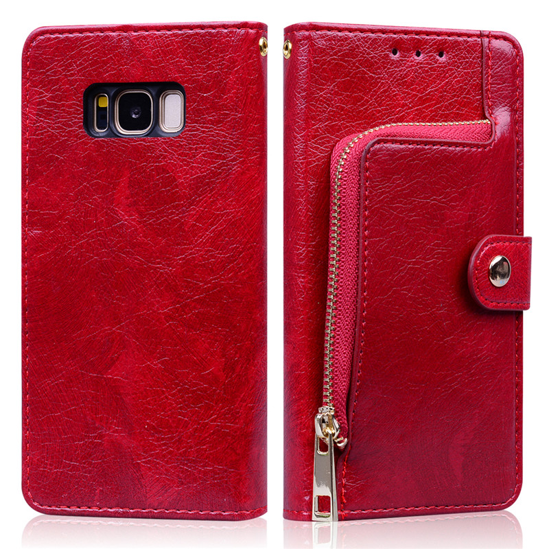 Leather Flip Wallet Case For Samsung Galaxy S8 Galaxy S8 S 8 Plus 8plus S8plus <font><b>SM</b></font>-G950 <font><b>G950F</b></font> G955 G955F Zipper Wallet Phone Case image