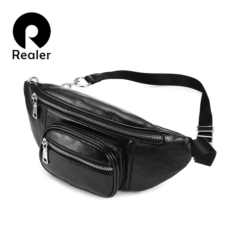 REALER Waist Bag Women PU Leather Belt Bags Fashion Waist Packs Solid Female High Quality Funny Cross-body Bags Belt For Ladies