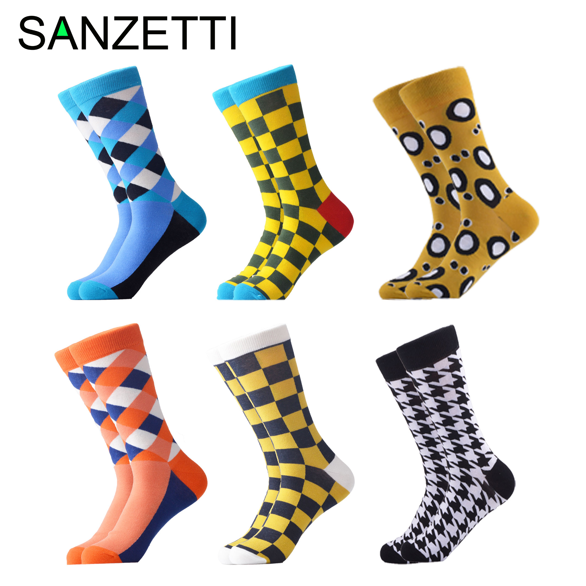 SANZETTI 6 Pair/Lot Men's  Breathab Casual Combed Cotton Socks Wedding Happy Crew Socks Funny Hip Hop Novelty Bright Dress Socks