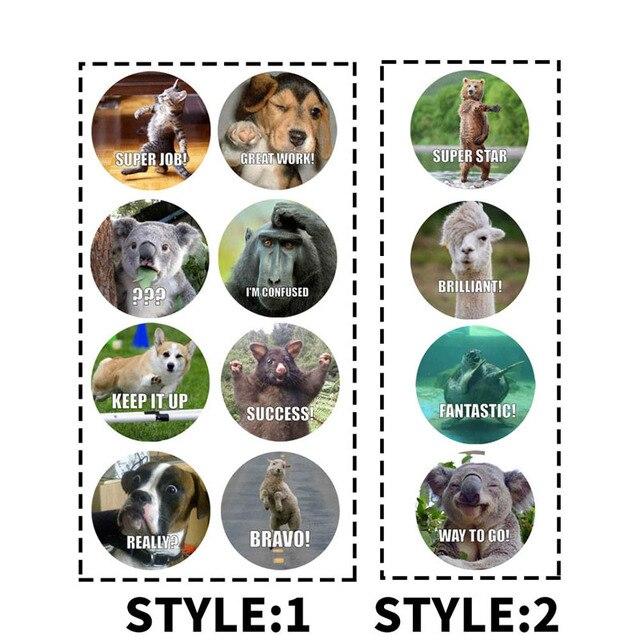 500 Pcs/roll Adesivi Ricompensa per Gli Insegnanti Divertimento Motivazionale & Incentivo Adesivi per I Bambini Sveglio di modo Davanguardia Animale Meme Giocattoli adesivi