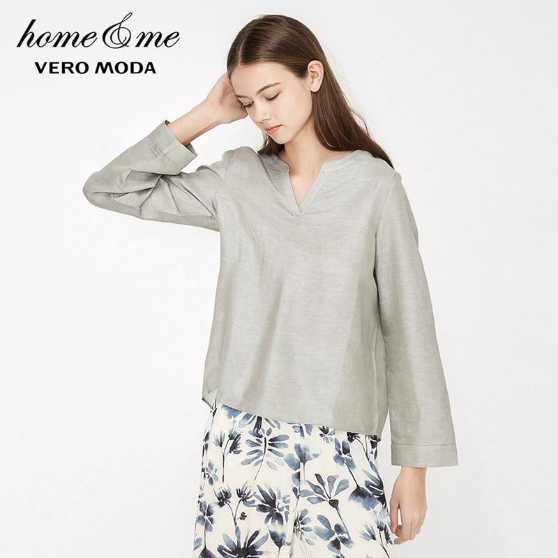 Vero Moda женская льняная свободная одежда для отдыха с v образным вырезом | 3192P9502