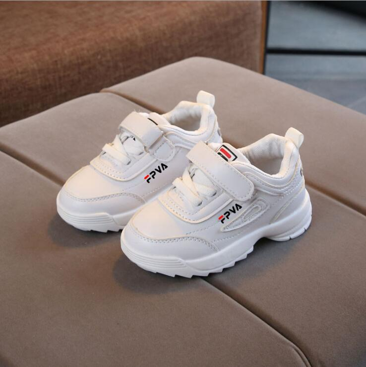 Spring New Children White Shoes Fashion Kids Soft Bottom PU Leather Sport Running Sneakers Baby Autumn Breathable Toddler Shoes
