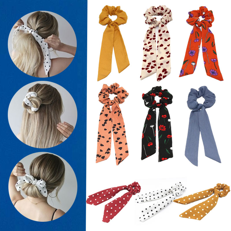 Geometric Girls Hair Bands Wave Point Ribbon Hairbands Ponytail Scarf Elastic Hair Rope For Women Hair Ties Scrunchies