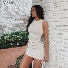 Nibber vintage tassel pure color cotton sleeveless women dress 2020 summer simple Streetwear ladies Elegant bodycon mini dresses