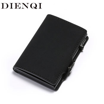 DIENQI New Antitheft Card Holder Leather Men Women Anti-magnetic Bank Credit Card Holder Minimalist Wallet Busienss Case Pocket