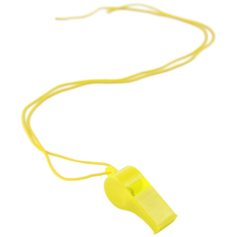 New 10pcs Plastic Multicolor Referee Whistle Yellow