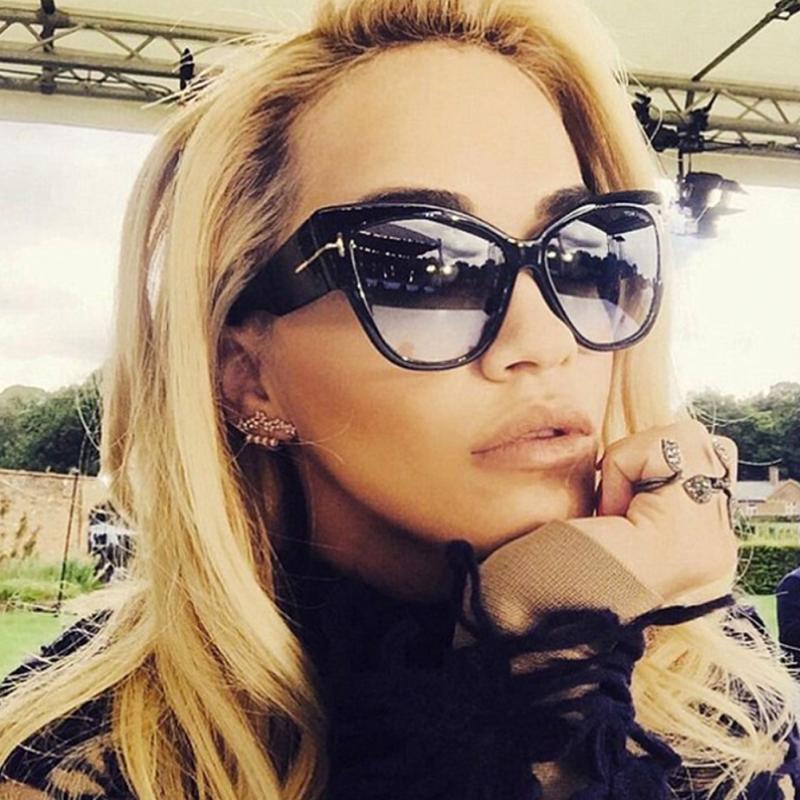 FSQCE New Fashion Brand Designer Cat Eye Women Sunglasses Female Gradient Points Sun Glasses Big Oculos feminino de sol UV400|Women's Sunglasses| - AliExpress