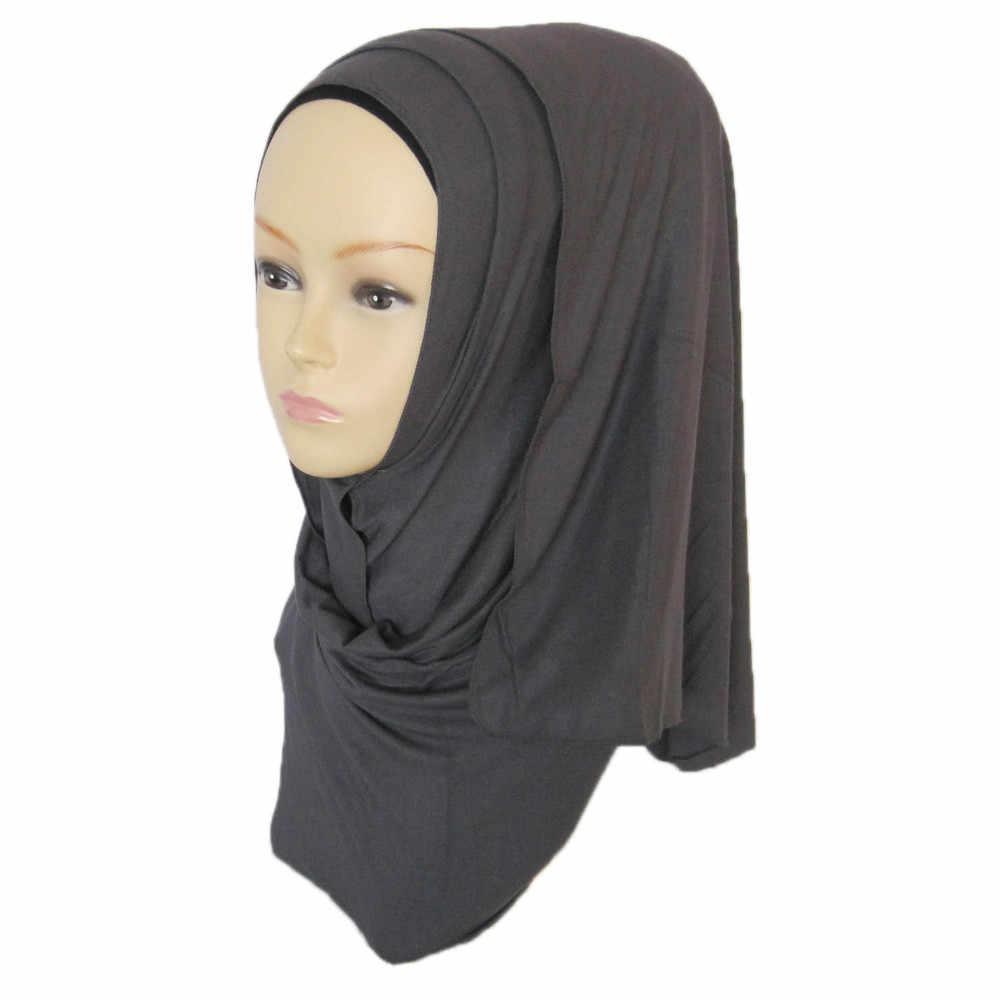 Hot Soft Cotton Muslim Headscarf Instant Jersey Hijab Full Cover Cap Wrap Scarf Islamic Shawls Women Turban Head Sunscreen A3094