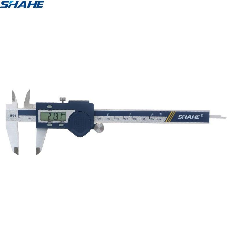Shahe aço inoxidável endurecido novo 0-150mm digital caliper vernier pinças micrômetro eletrônico vernier pinça ferramenta de medição