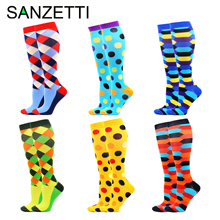 SANZETTI 6 Pairs Women Colorful Below Knee Design Leg Support Stretch Cotton Compression Socks Dot Anti Fatigue Happy Sport Sock