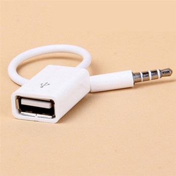 Car MP3 3.5mm Male AUX Audio Plug Jack To USB 2.0 Female Converter Cable Cord 14.5cm image