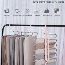 Мульти-Слои 6 в 1 массы брючная вешалка Non-Slip Складная стойка для хранения висит брюки шарф Сушильный Шкаф Организатор