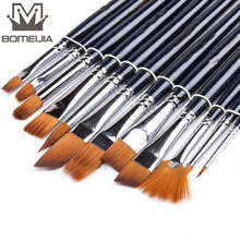 12Pcs Watercolor Paint Brushes Set Nylon Hair Painting Brush Variety Style Short Rod Oil Acrylic Pen Art Supplies