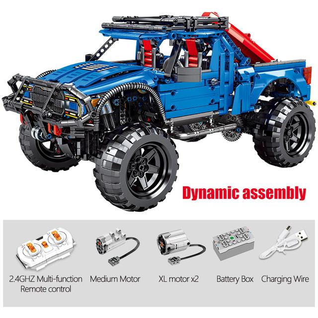 1630PCS Remote Control Pickup Model Bricks For  Technic City RC/non-RC Trucks Off-road Car Building Blocks Toys For Kids