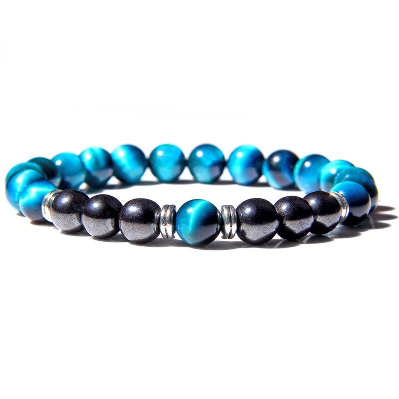 Natural Polished Blue Tiger Eye Stone Bracelets For Women Men Fashion Classic Elastic Hematite Bracelets Femme Bangle Jewelry