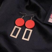 Handmade Jewelry Korean Femininity Red Wood Earrings Geometric Long Simple Joker Stud Accessories Statement