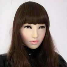 Realista feminino máscara de látex protetor solar máscara realista máscara de máscara de máscara de máscaras de pele humana transgênero meia coberta máscara de crossdress