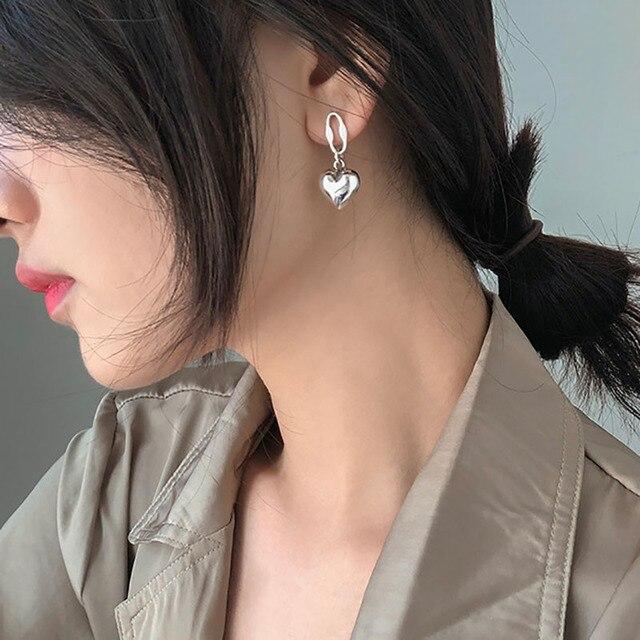 Foxanry 925 argent Sterling amour coeur boucles doreilles pour les femmes Vintage à la mode anglais lettre Tag Thai argent fête mariée bijoux