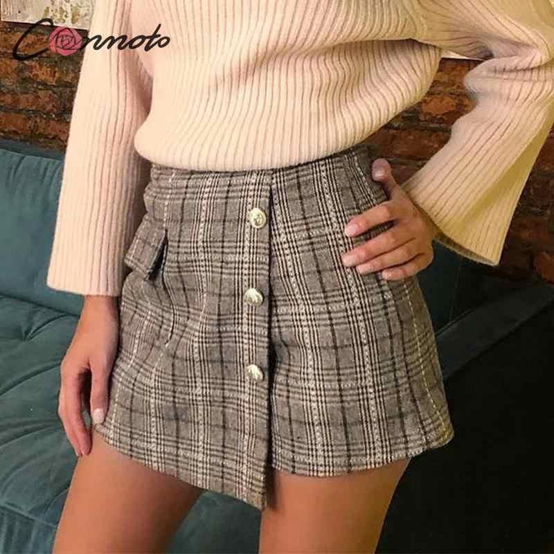 Conmoto, винтажная клетчатая осенне-зимняя женская юбка-шорты, элегантные женские шорты с карманами, высокая талия, женская модная юбка OL