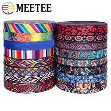 Meetee 5 metros 38mm moda impressão étnica jacquard webbing sacos cinta cinto fita diy têxtil vestuário cinto decoração costurar acessório
