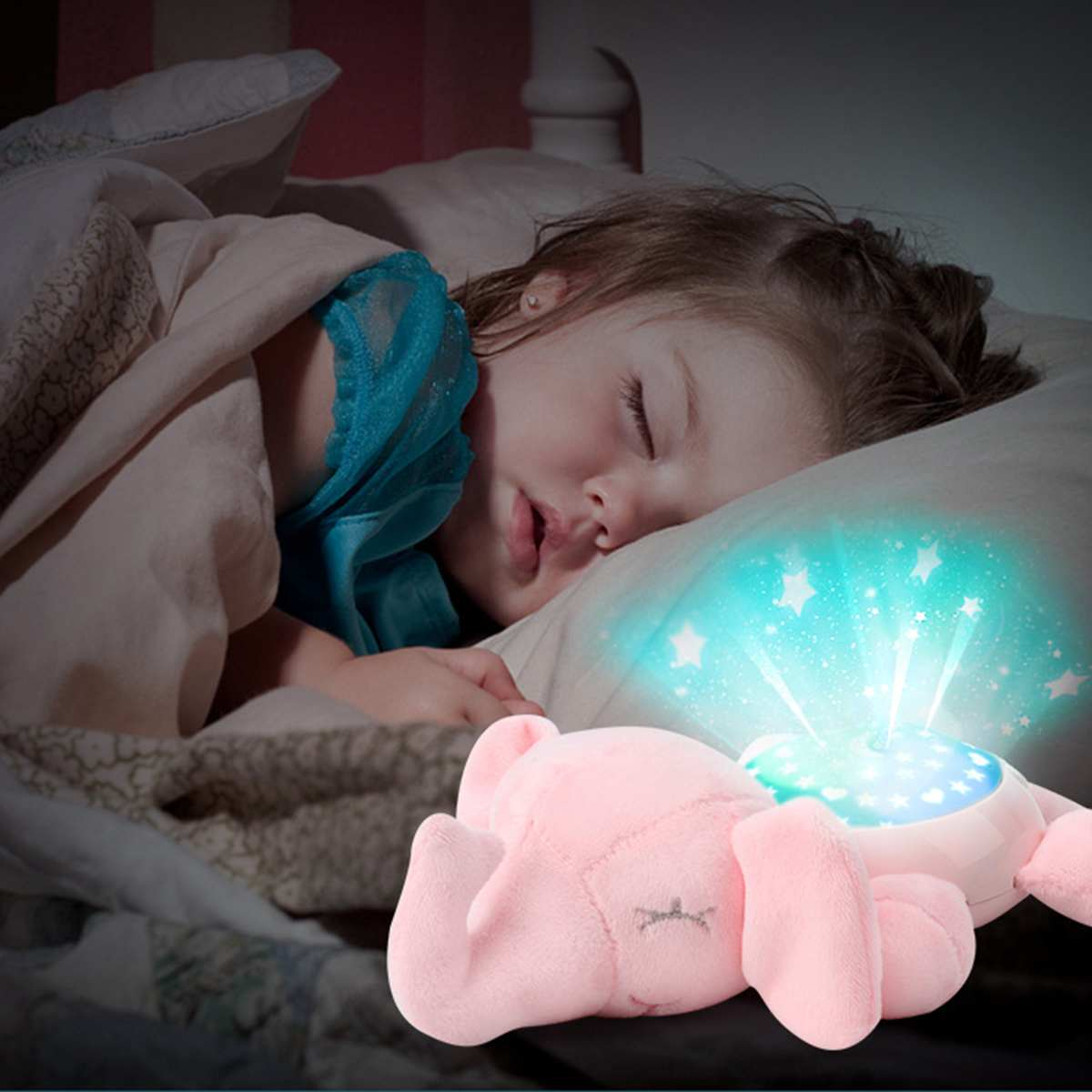 Led Night Light Stars Projector Baby Toys For Children Sleep With Colorful Light Luminous Music Animal Lamp Plush Toy Kid's Gift