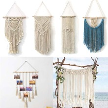 Macrame Wall Art Handmade Cotton Wall Hanging Tapestry with Lace Fabrics Bohemian Hanging Decoration for Birthday Party