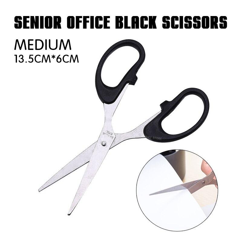 1p Senior Office Black Scissors (Medium Size) Office Essentials Stainless Steel Scissors Paper Scissors Manual Scissors 3 Sizes