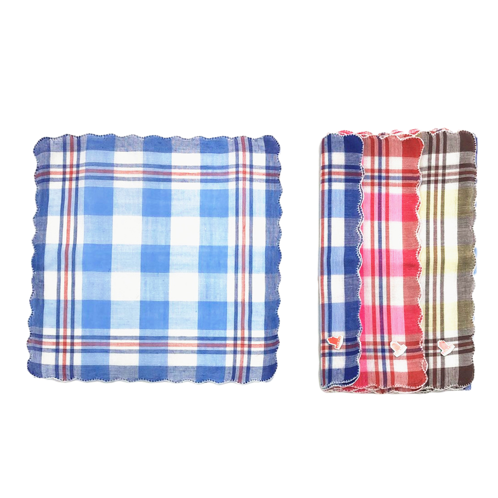 12 Pieces Women Handkerchiefs Check Pattern Pocket Square Gift Set 28x29cm