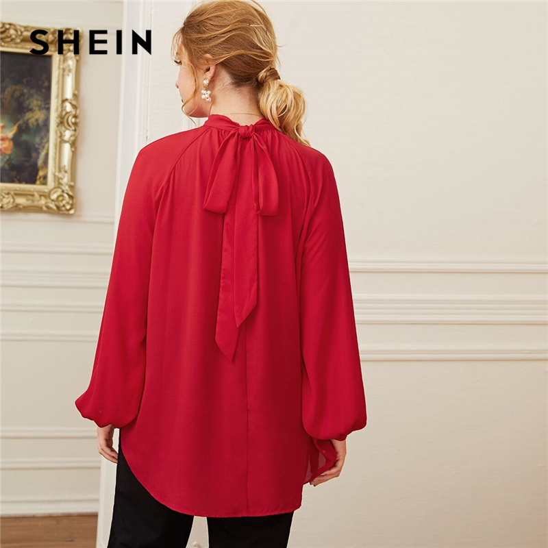 SHEIN Plus Size Red Tie Back Raglan Sleeve Dip Hem Top Women Autumn Solid Office Lady Elegant Oversized Tops And Blouses