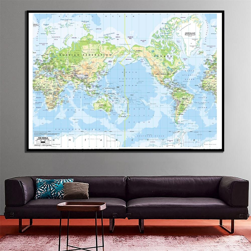 60x90cm The World Mercator Projection Map HD Canvas Spray Painting For Living Room Wall Decor Painting