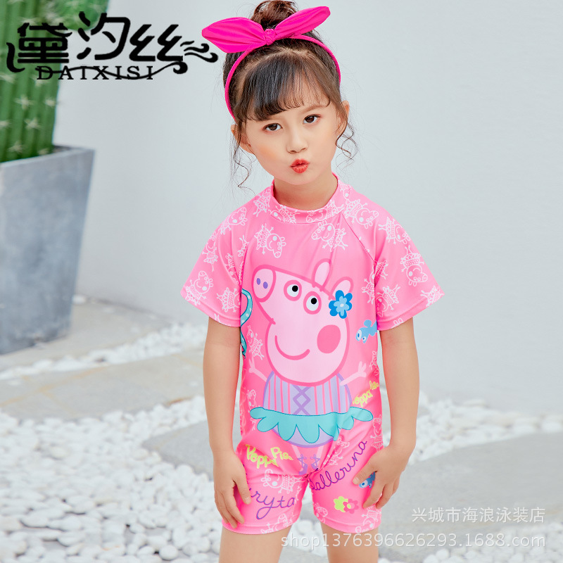 2018 Free Bathing Suit Agent New Style Girls One-piece Cartoon Sun-resistant Bathing Suit Swimming Spa Resort Seaside Bathing Su