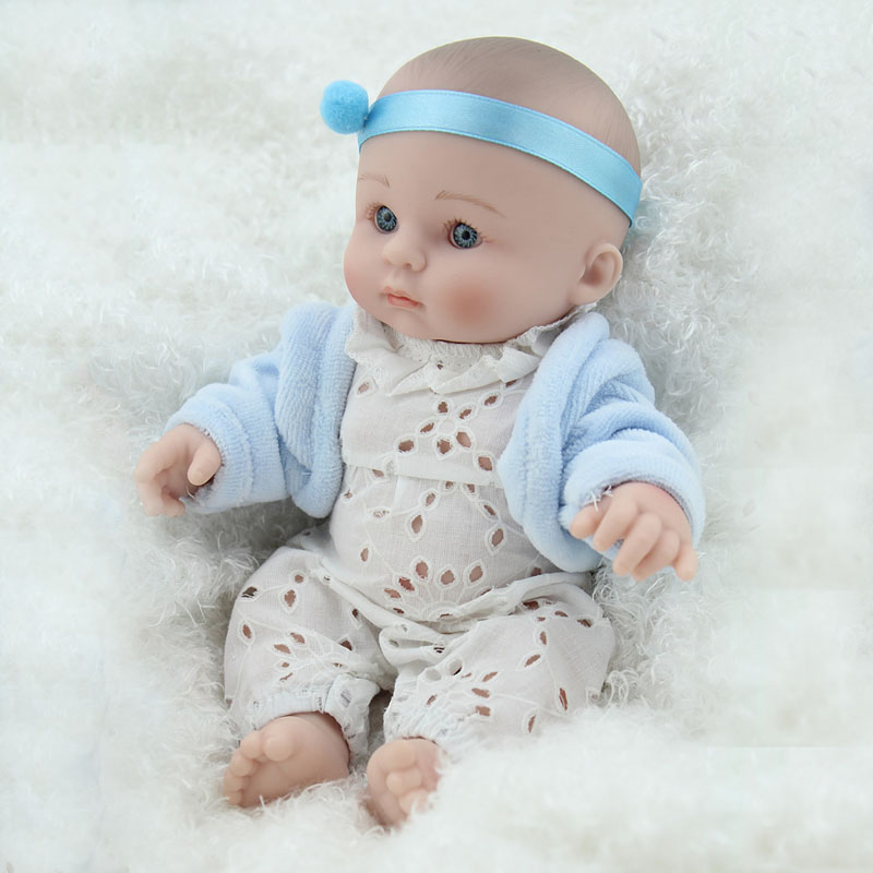 "Reborn dolls for baby toys 8"" 20cm mini silicone reborn baby dolls real newborn baby with blue clothes child bebe gift reborn 1"