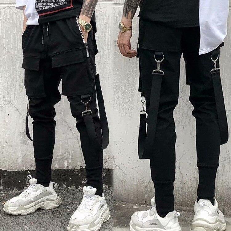 Bib Overall Men's Stereo Webbing Popular Brand Men Beam Leg Harem Pants Cool Large Pocket American-Style Handsome Casual Pants F