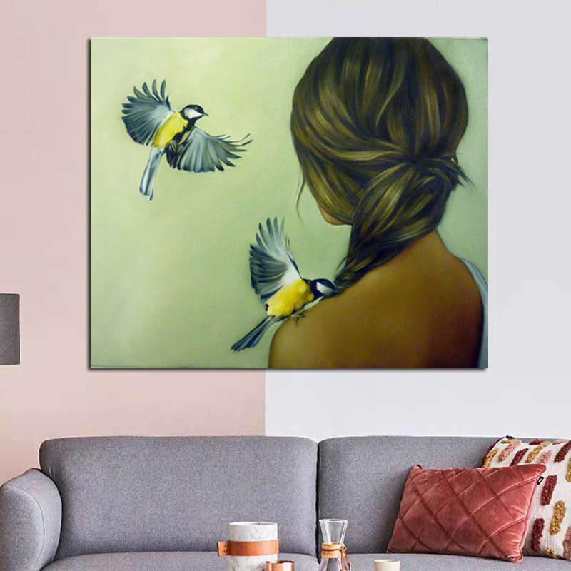 Nordic Modern Green Background Woman Abstract Fashion Style Canvas Painting Art Print Poster Picture Wall Living Room Home Decor